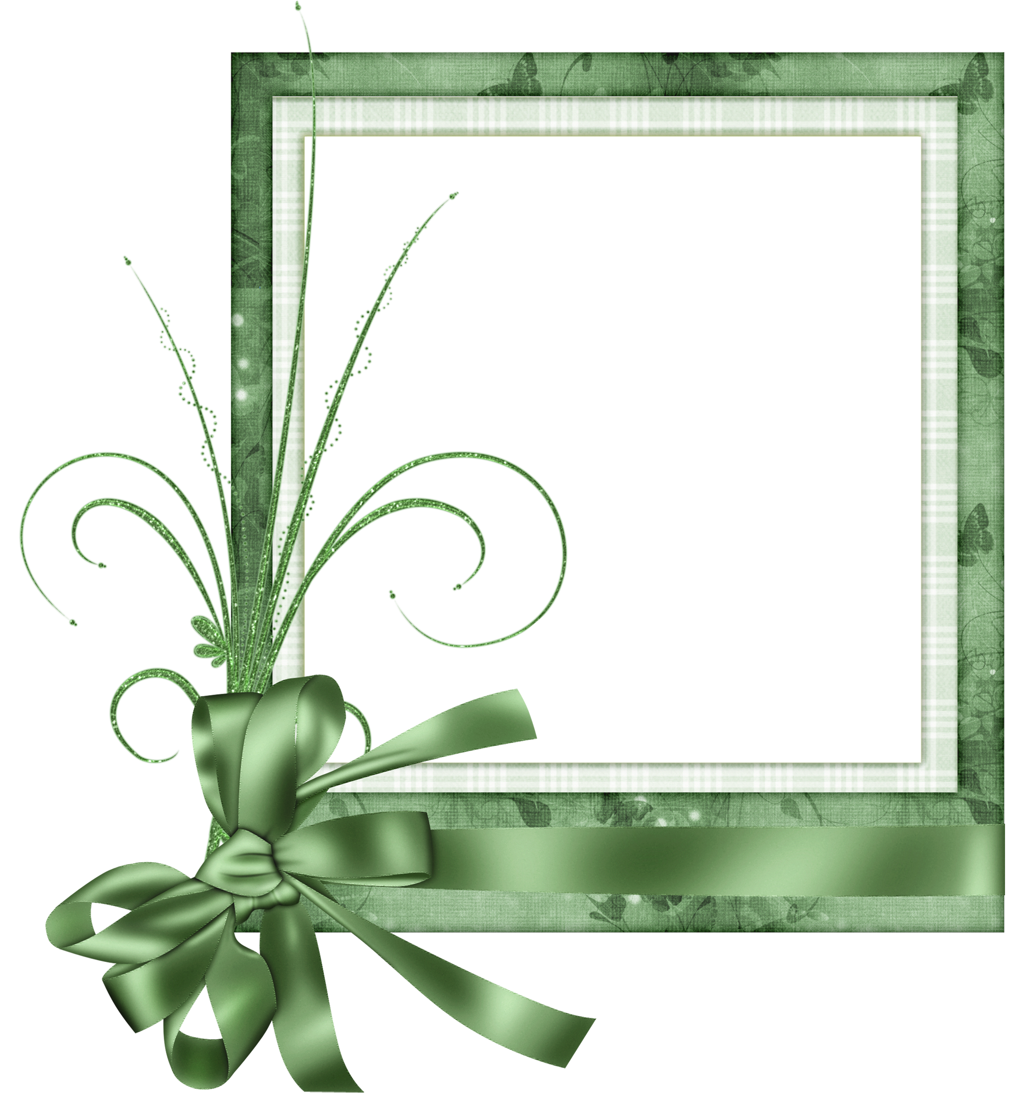 Frame clipart cute. Green transparent with bow