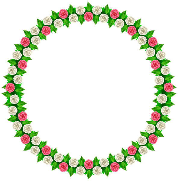Number 1 clipart rounded. Rose round border frame