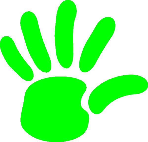Green hand print clip. Handprint clipart left