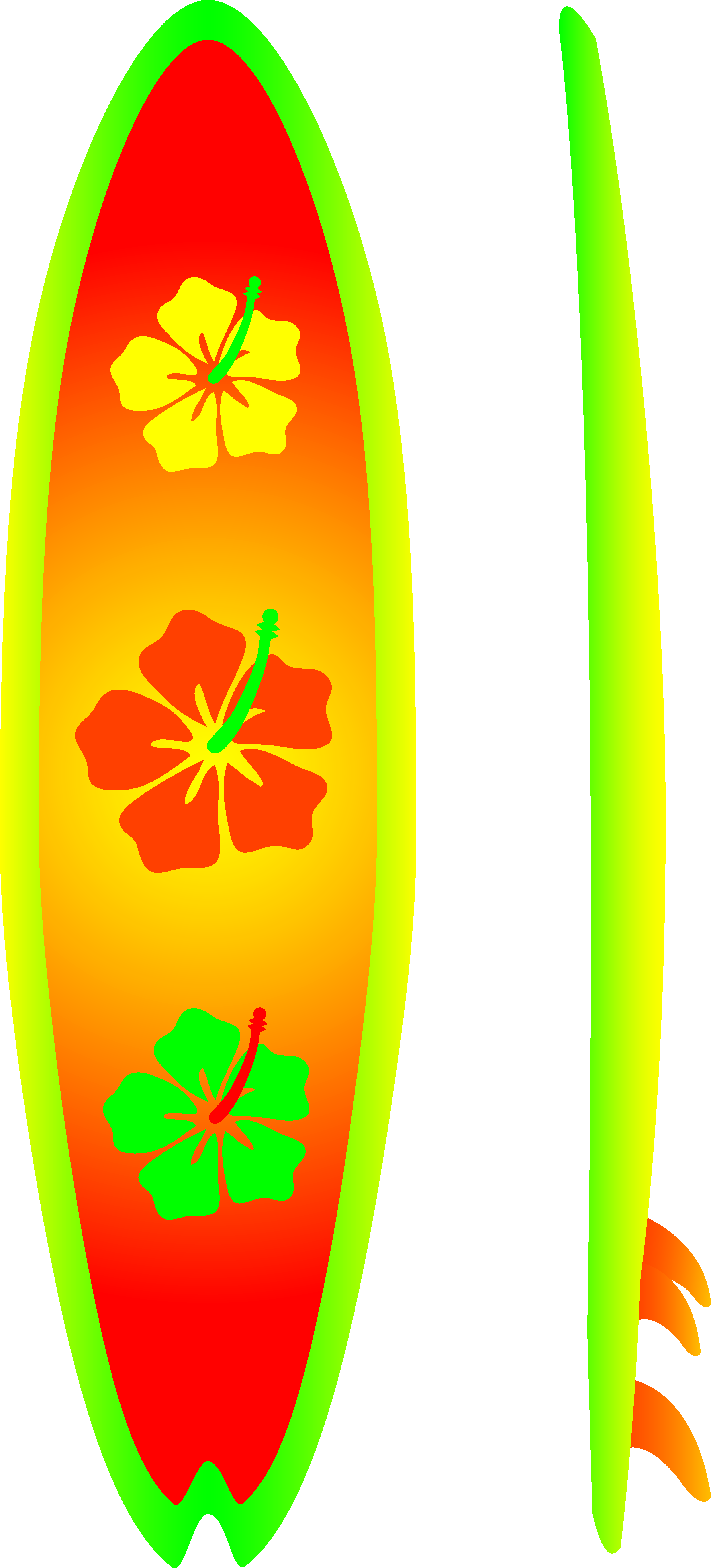Neon with hibiscus design. Cool clipart surfboard