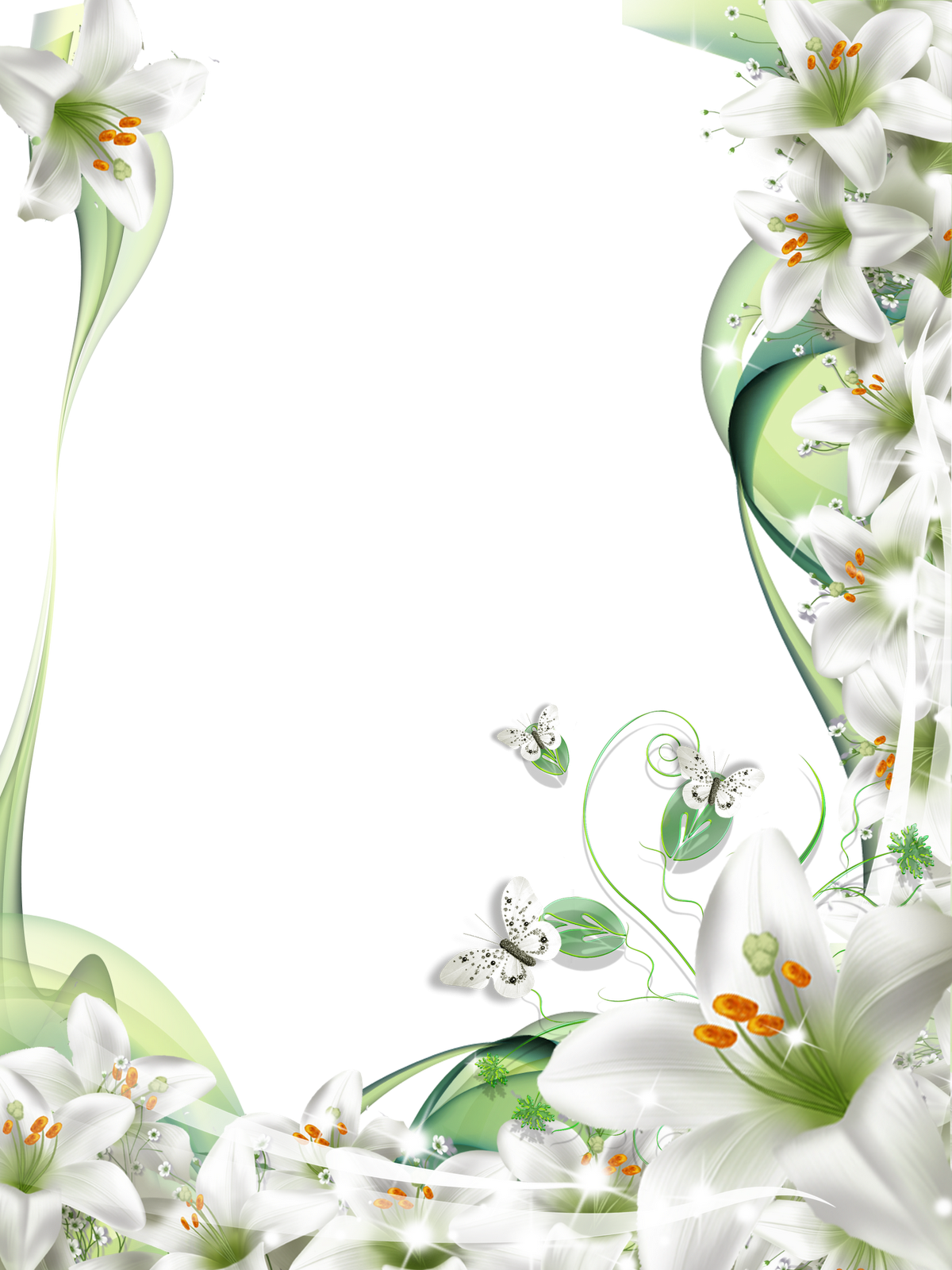 Woodland clipart boarder. Lilies frame suitable for