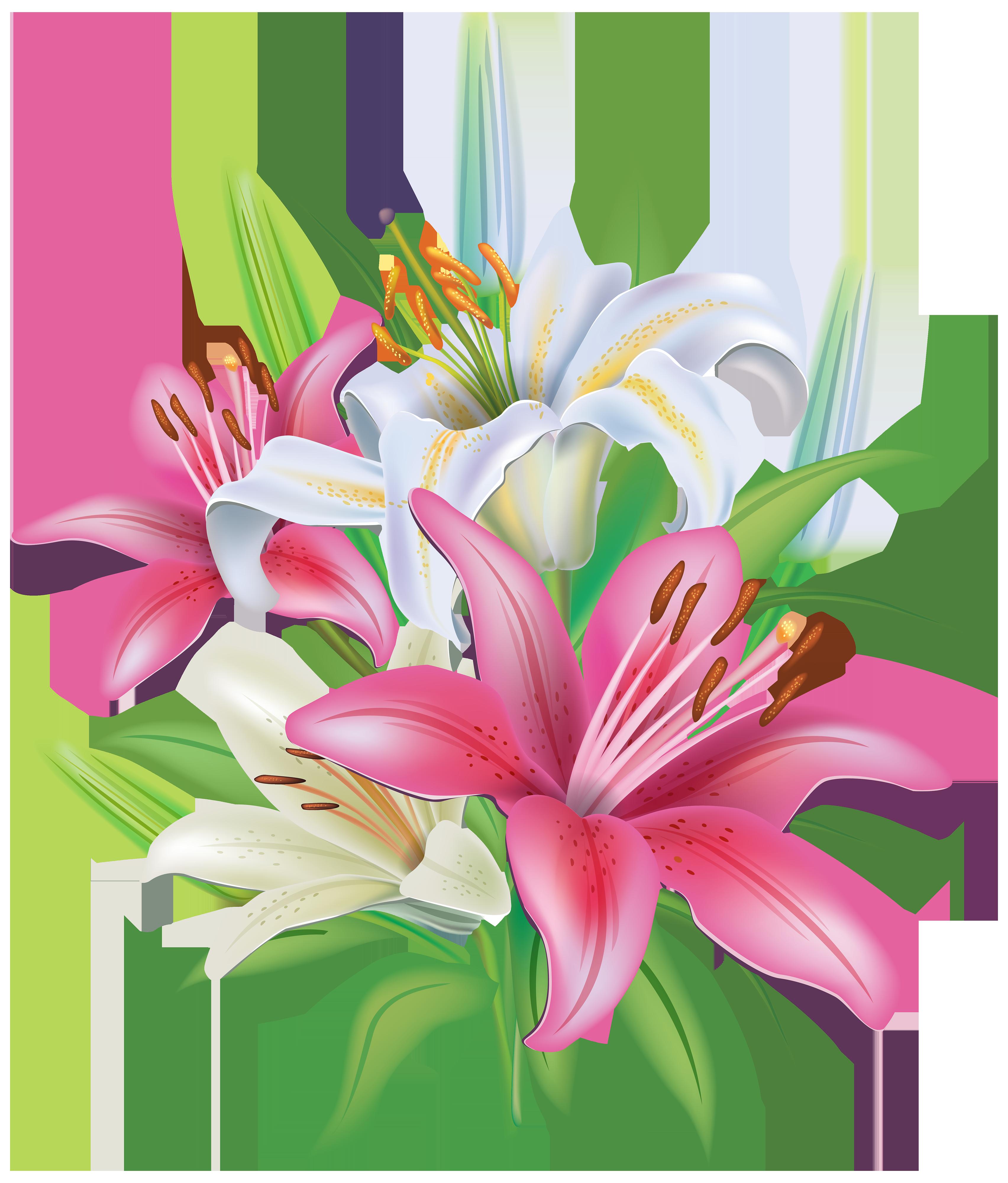 Lilies flowers decoration png. Clipart easter bouquet
