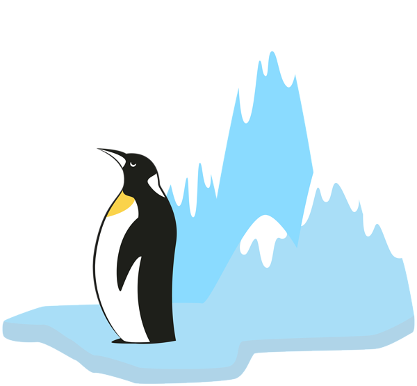Hearts clipart penguin. On glacier transparent png
