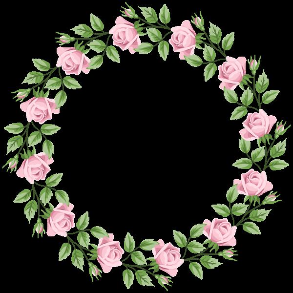 Pink rose border frame. Poppy clipart three