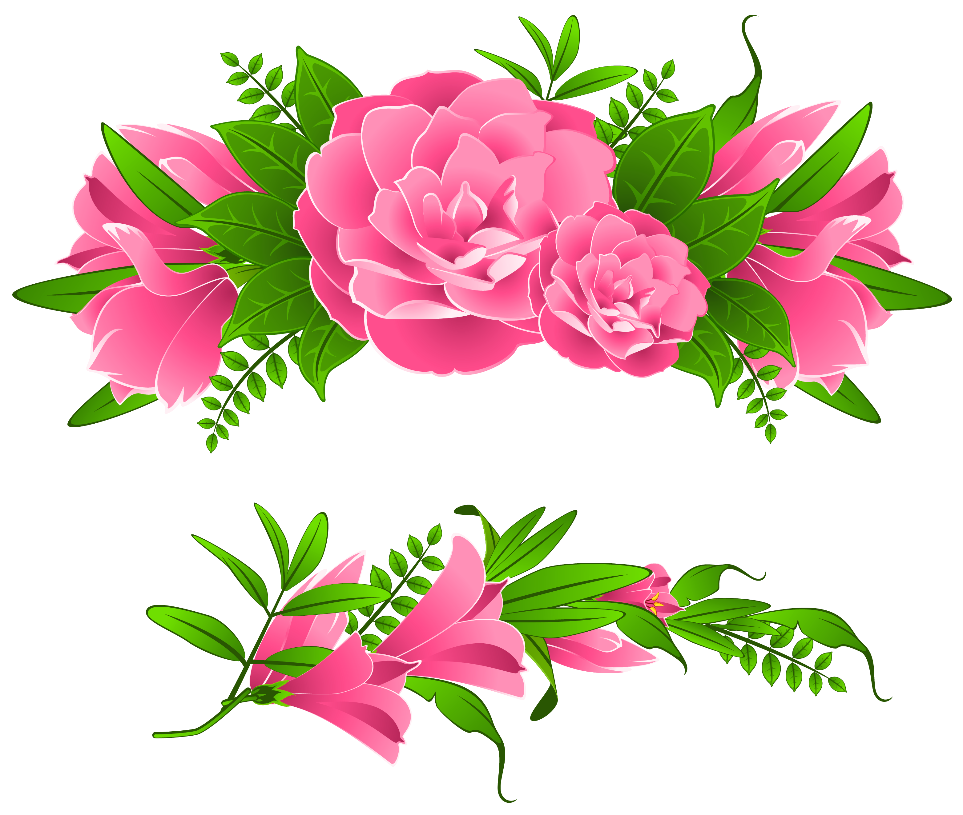 Pink flowers decorative element. Clipart roses borders