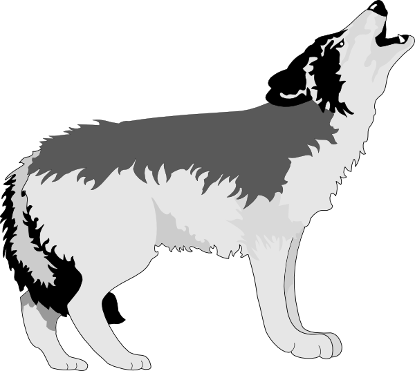 Wolf clipart black and white. Howling gray clip art