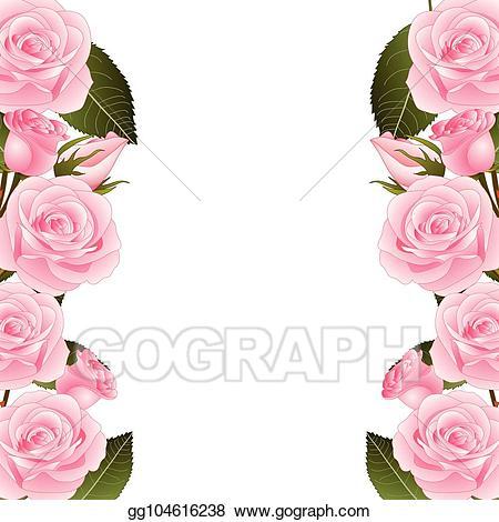 Clipart borders pink rose. Vector illustration flower frame