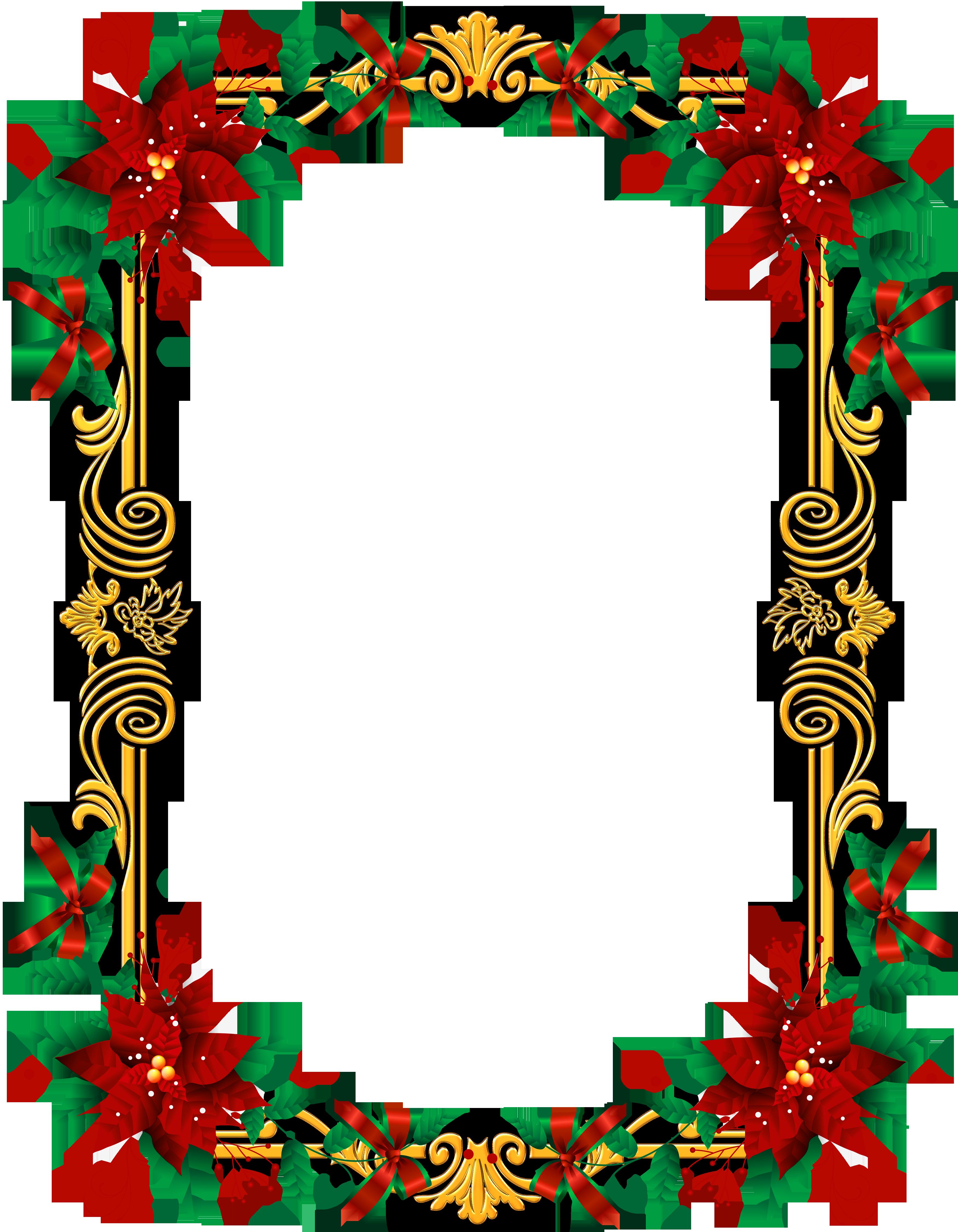 Transparent png christmas frame. Clipart border poinsettia