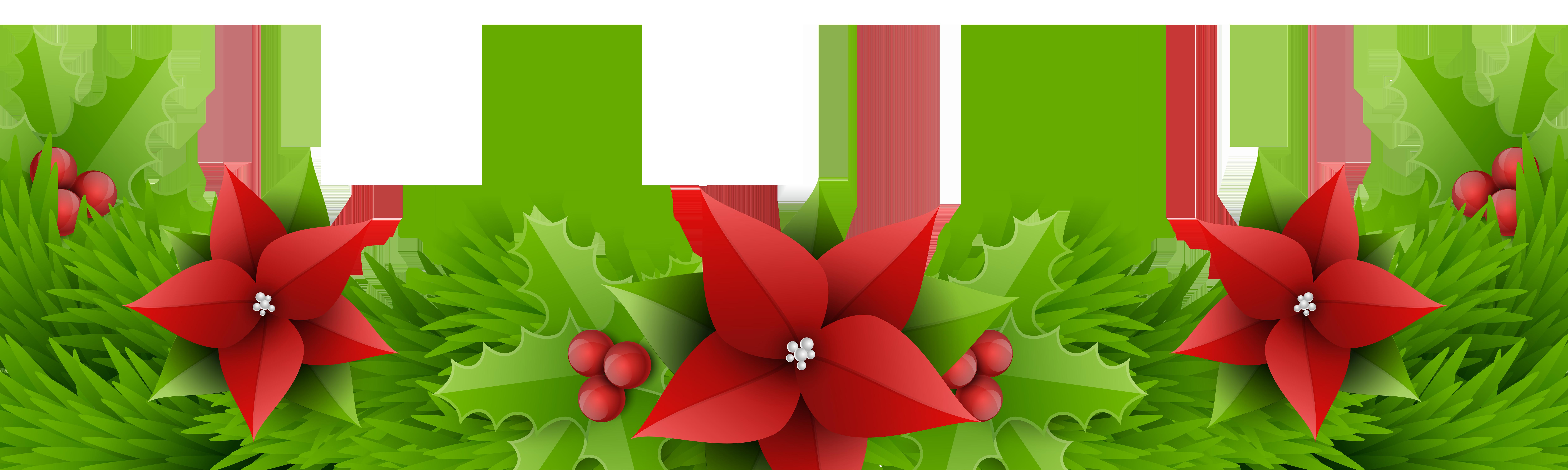 Christmas border decoration transparent. Poinsettias clipart single