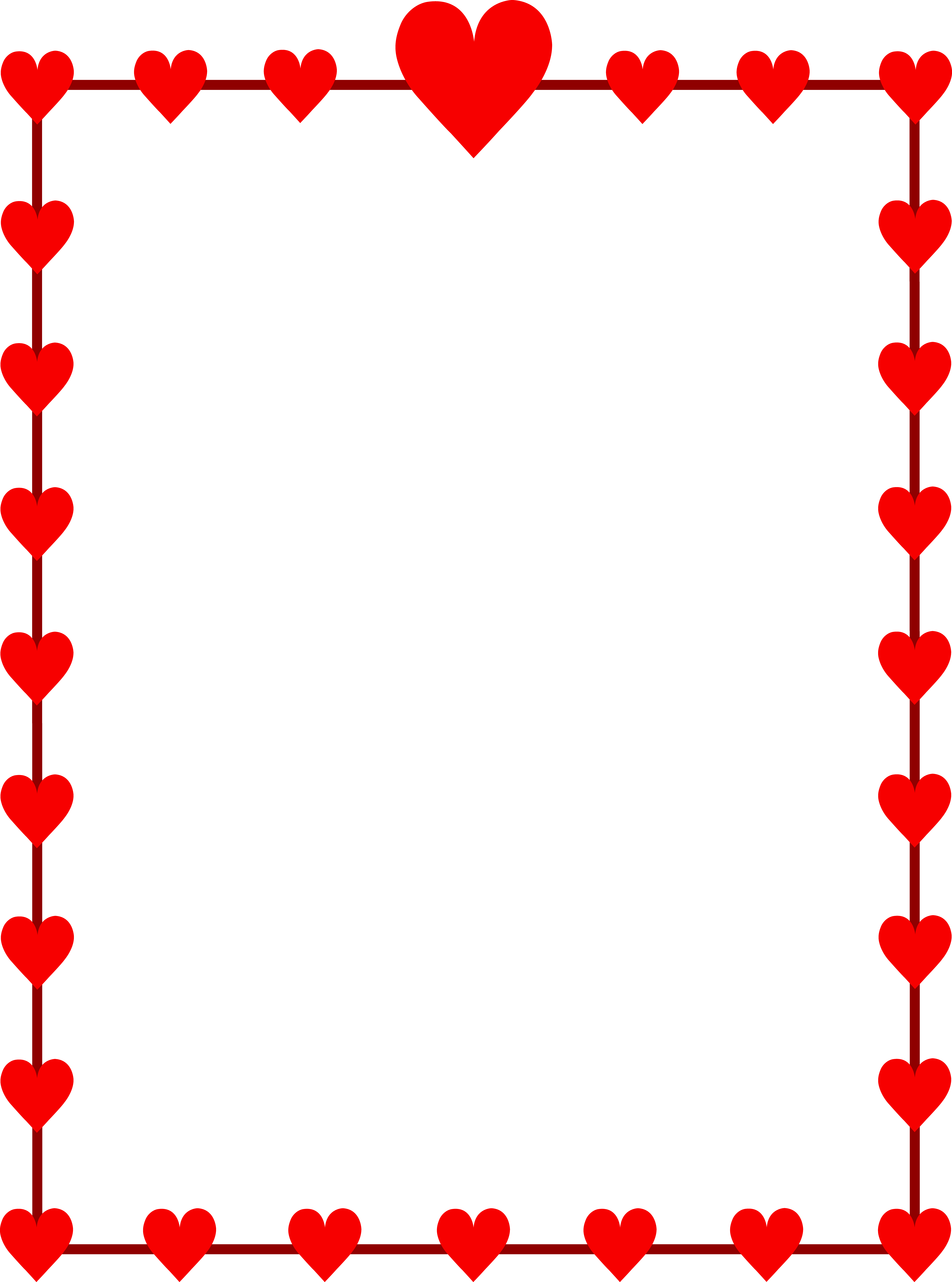 Clipart border red. Hearts frame free clip