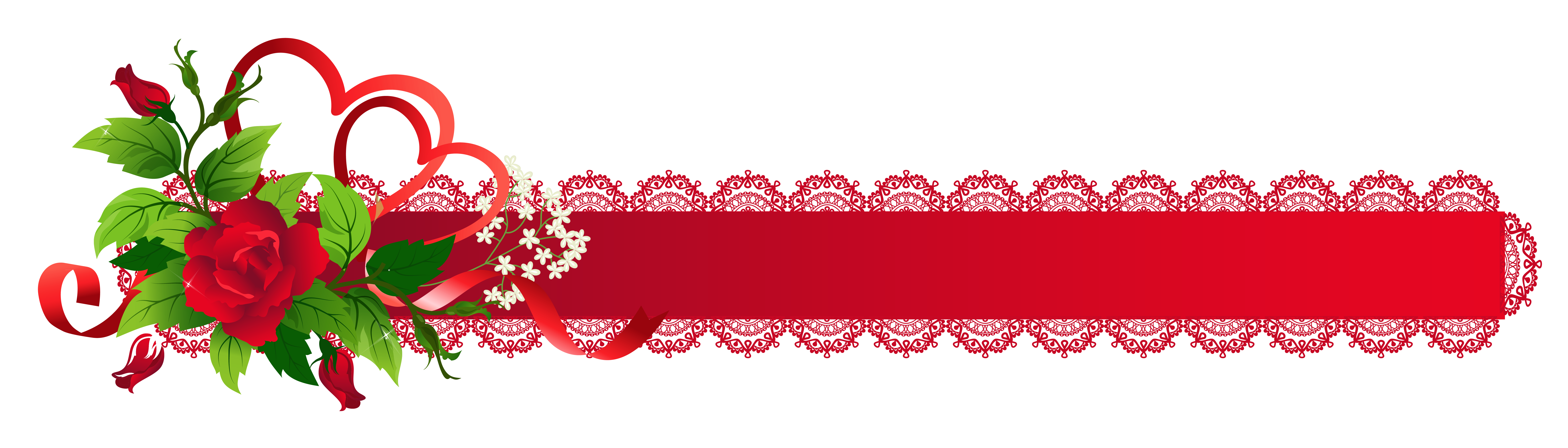 Red deco ribbon with. Clipart rose christmas