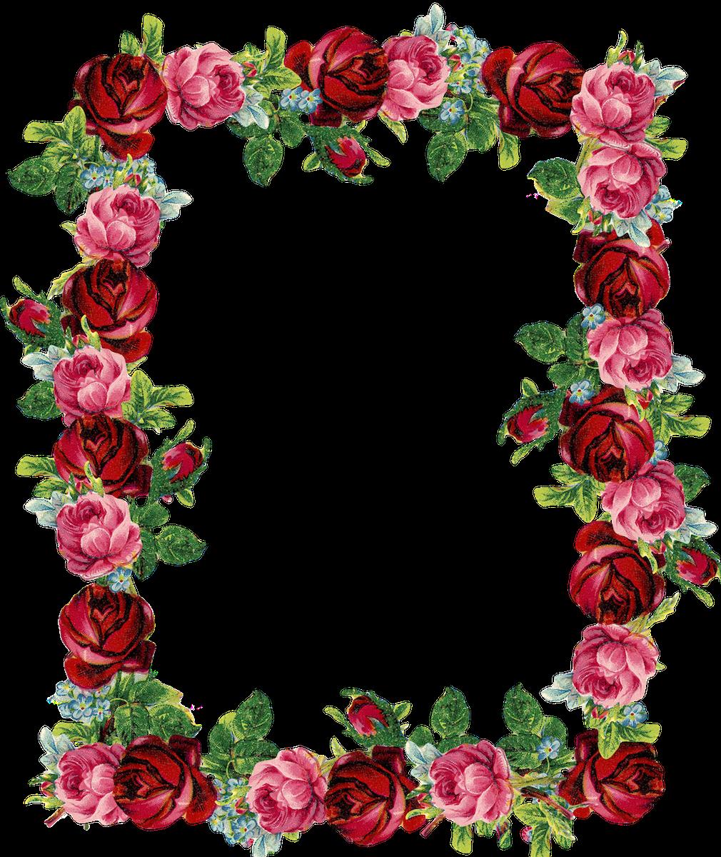 Free digital vintage frame. Clipart rose shape