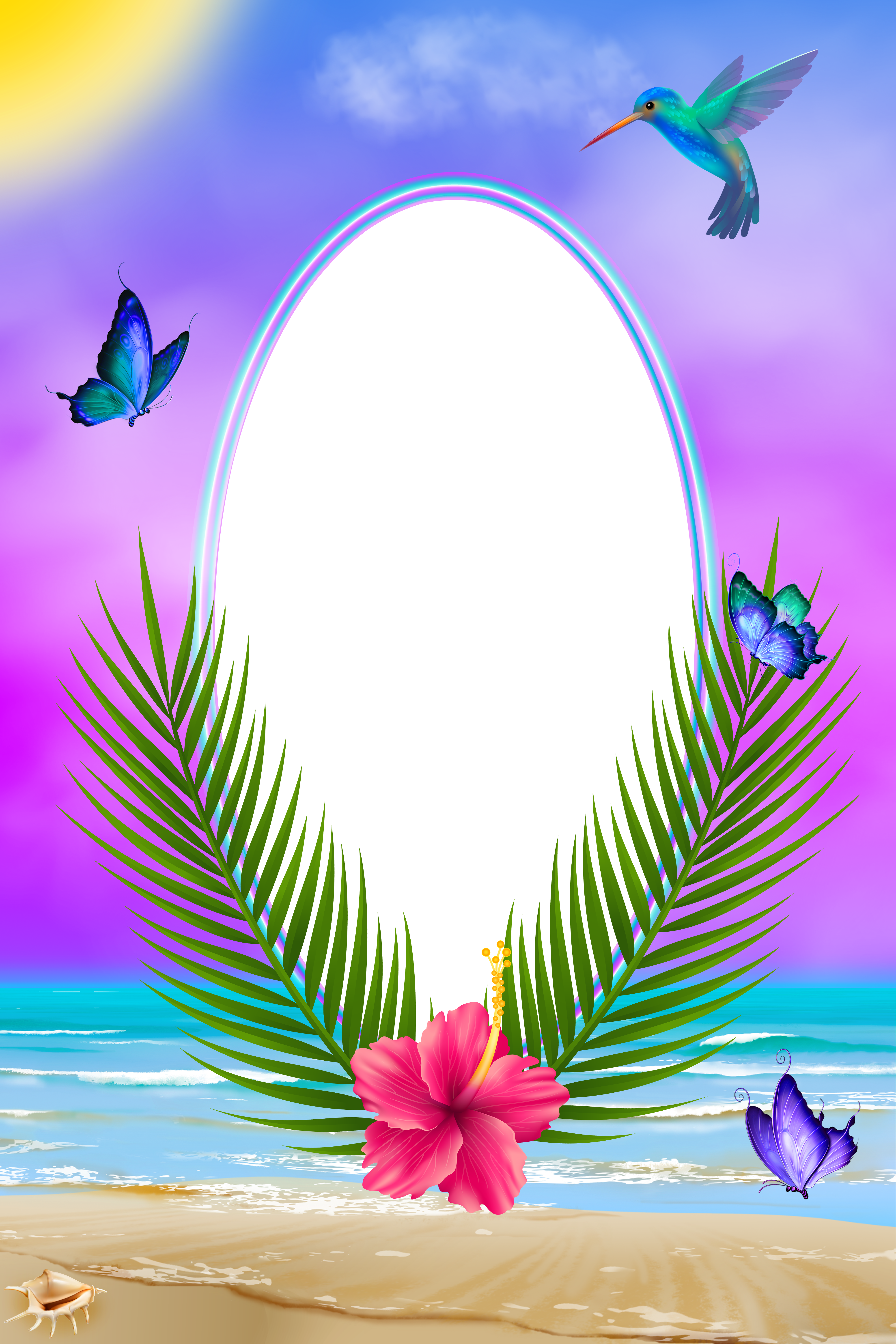 Exotic png transparent frame. Clipart borders summer