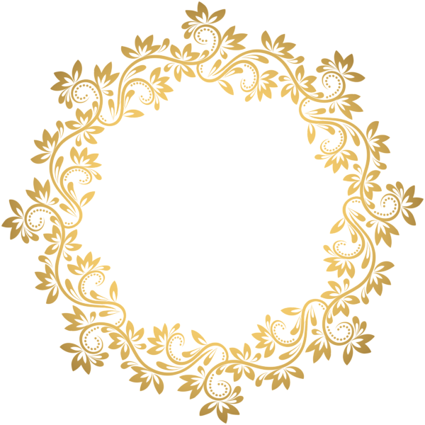 Gold deco round png. Pasta clipart border