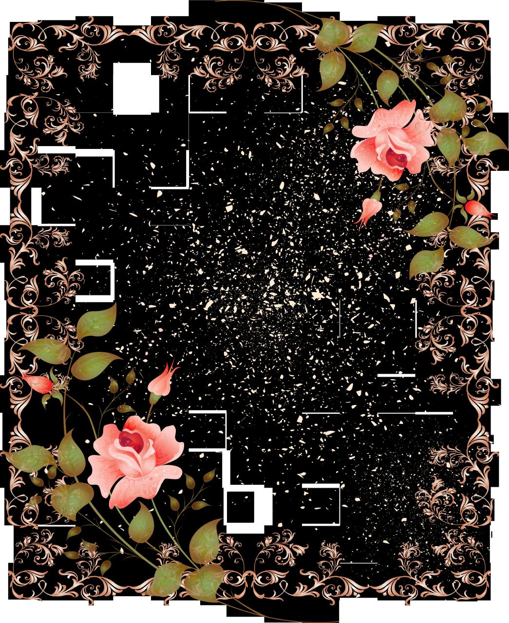 Retro style border picture. Square clipart floral