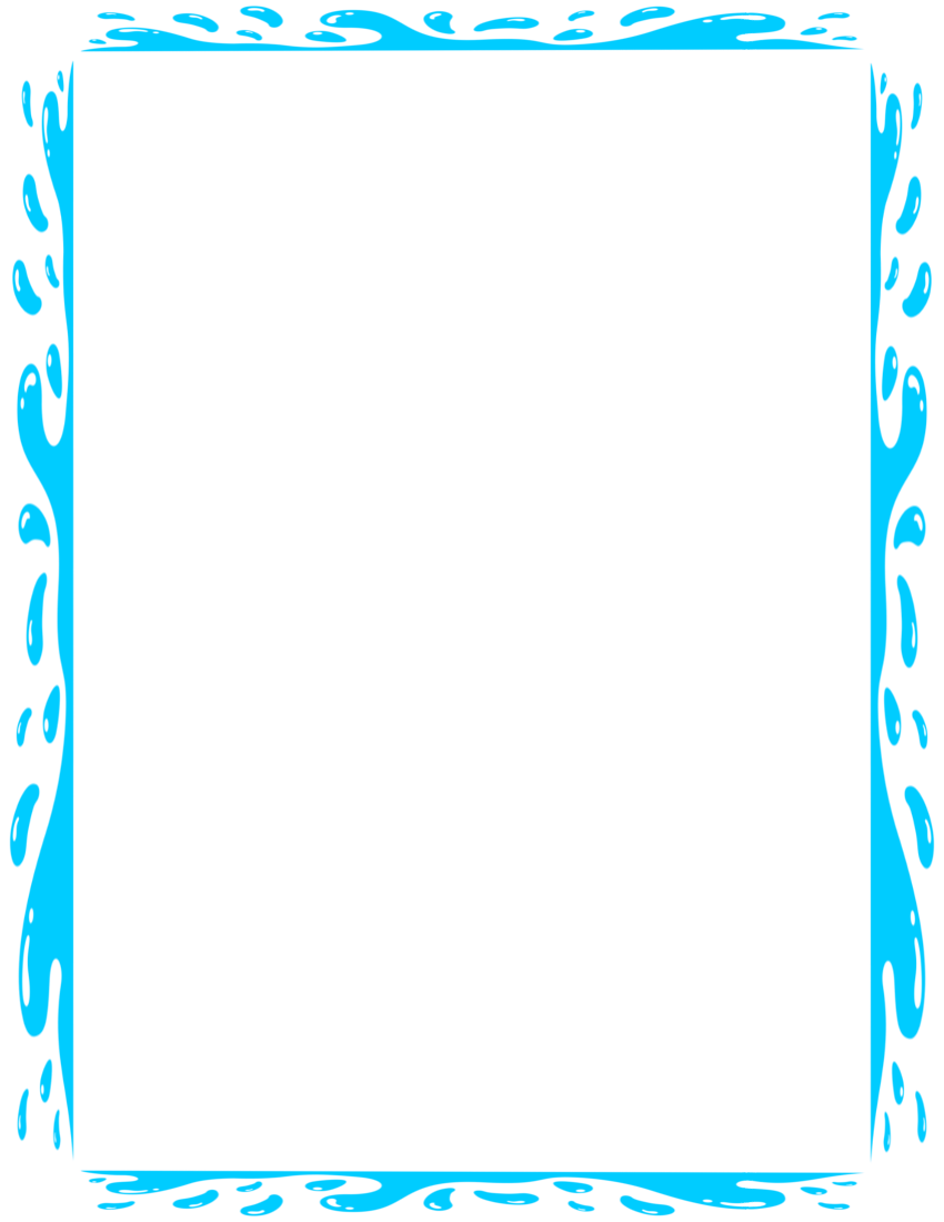 Splashy border page frames. Water clipart boarder