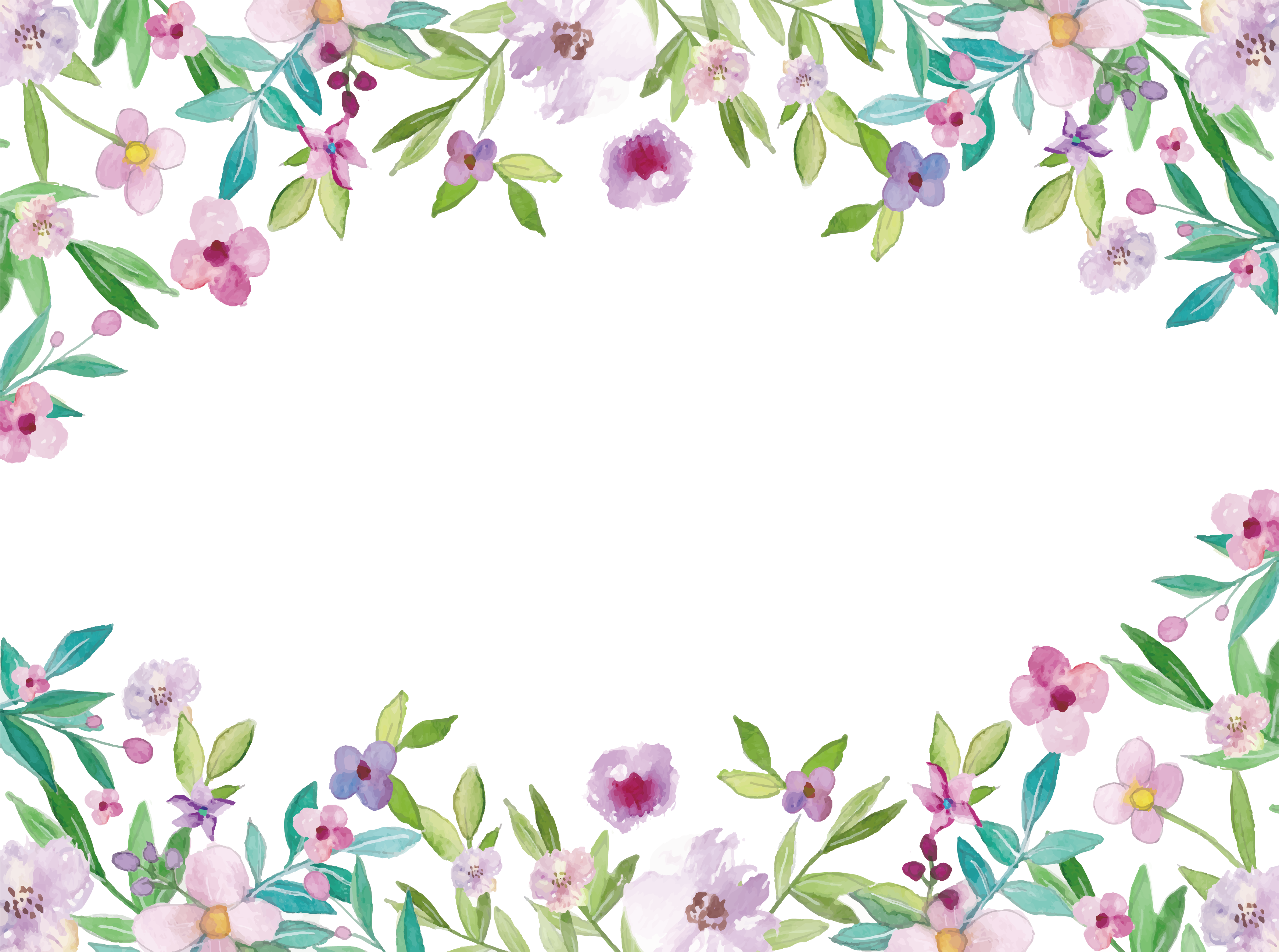 Painting clip art flowers. Watercolor flower border png