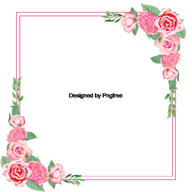 Flower border frame floral. Garland clipart rose