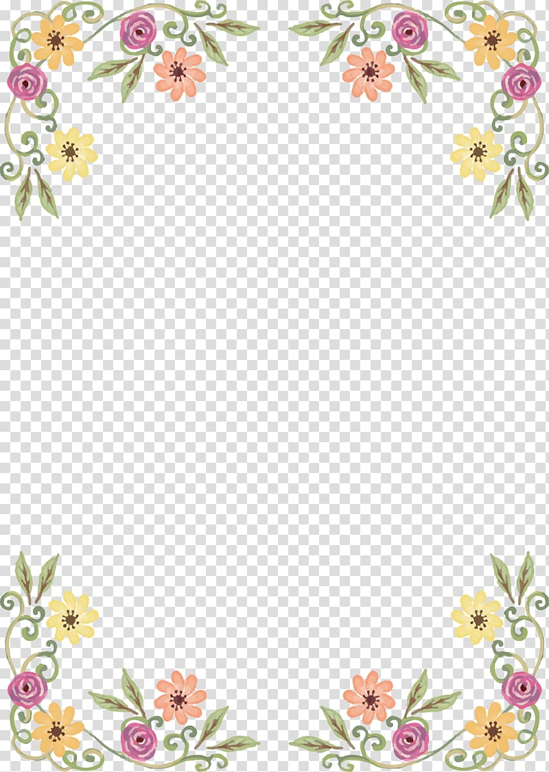 Clipart borders wildflower. Assorted color petaled flowers