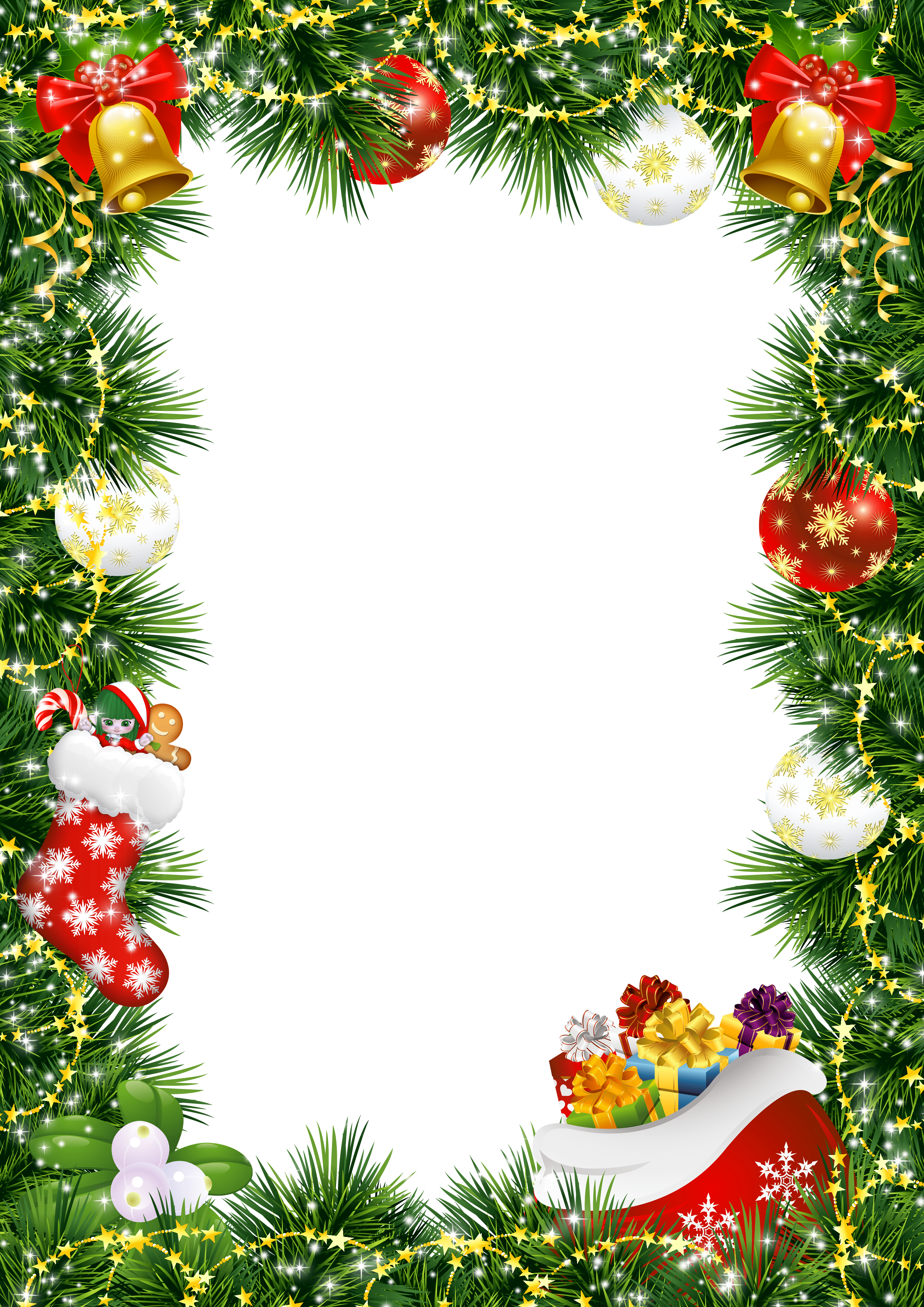 Photo with ornaments gallery. Christmas card frame png