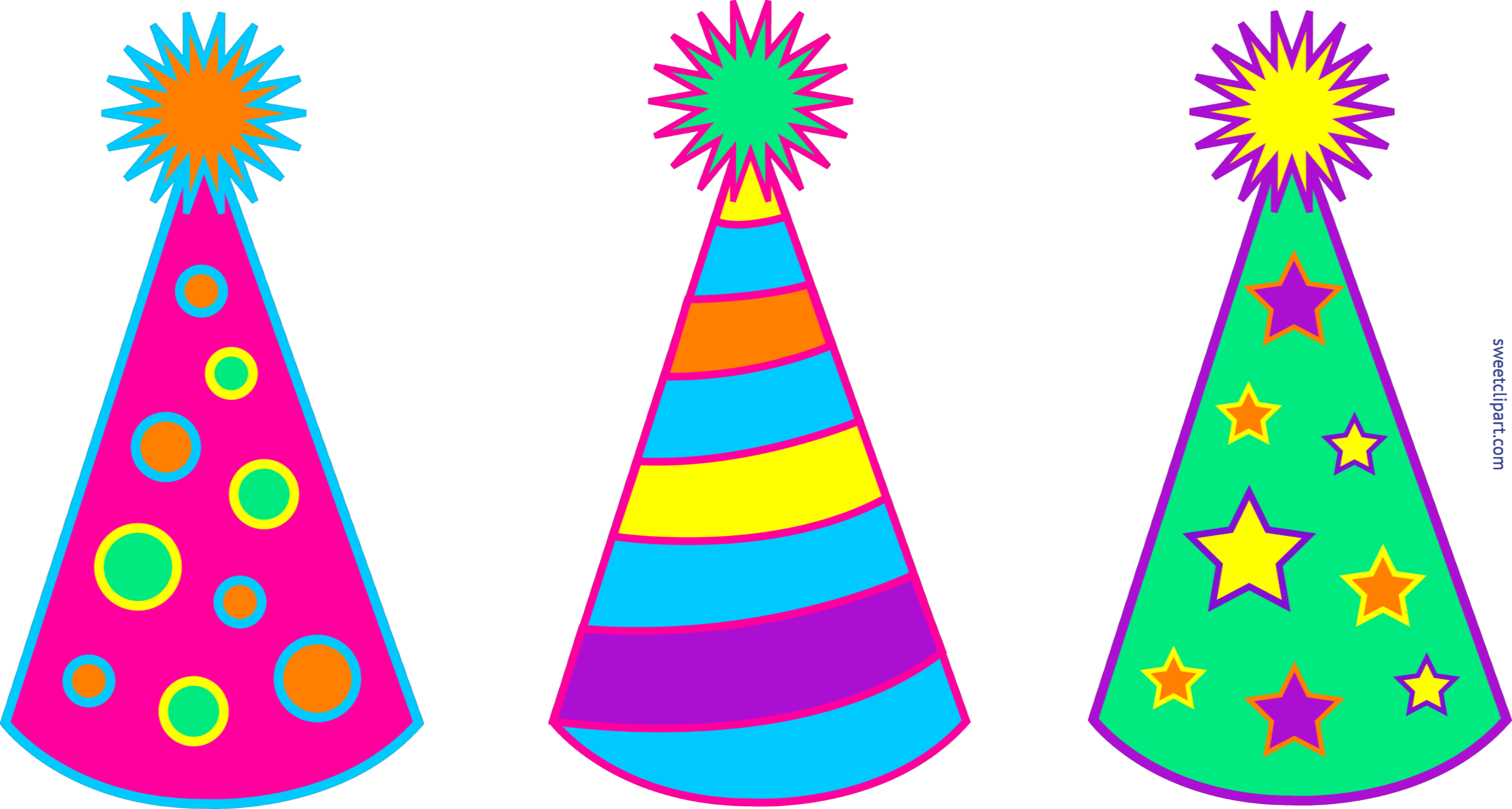 Birthday hats set sweet. Party clipart clip art