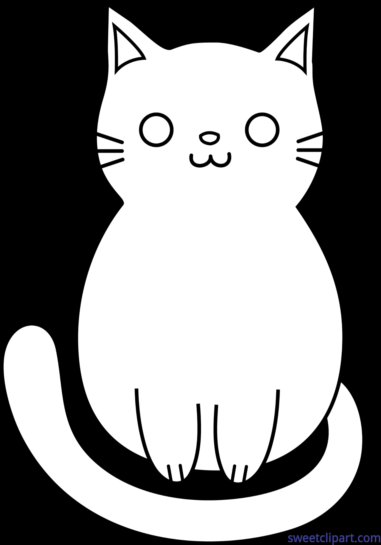 Cute lineart clip art. Clipart cat bow