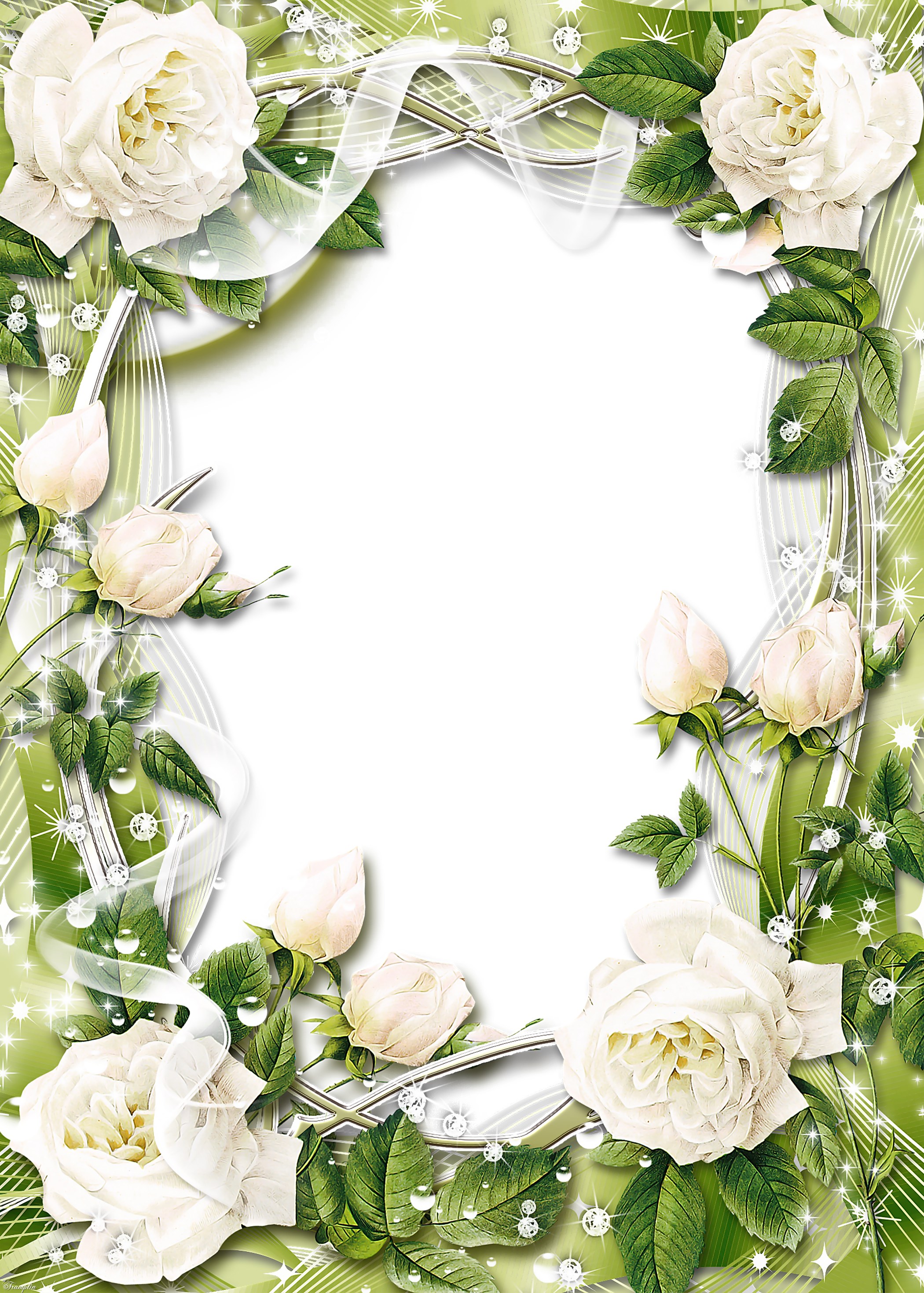 Groen transparant png fotolijst. Clipart roses template