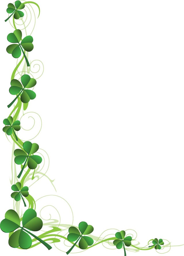 Free march borders cliparts. Clover clipart border