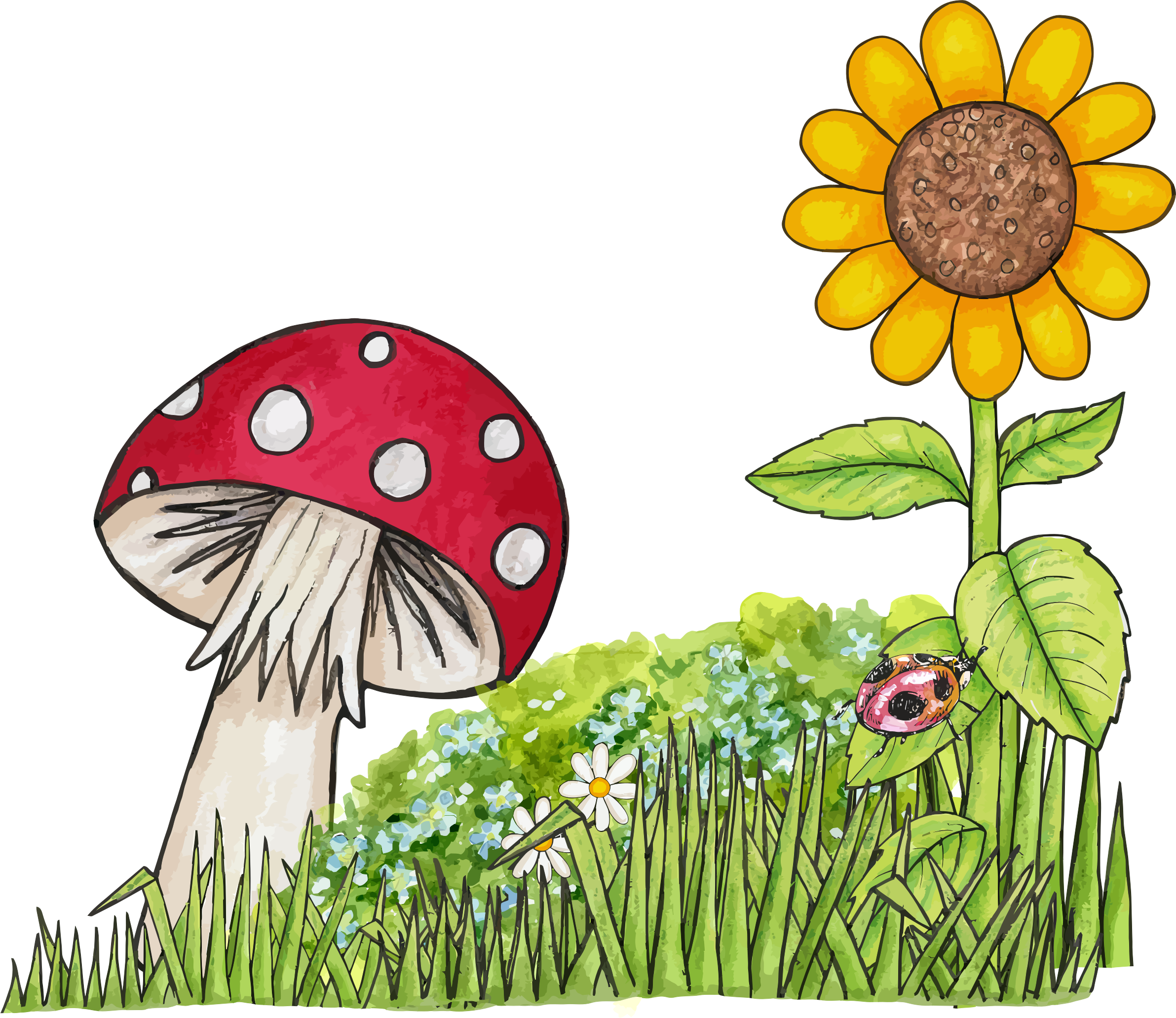 Toadstool big image png. Clipart grass scene