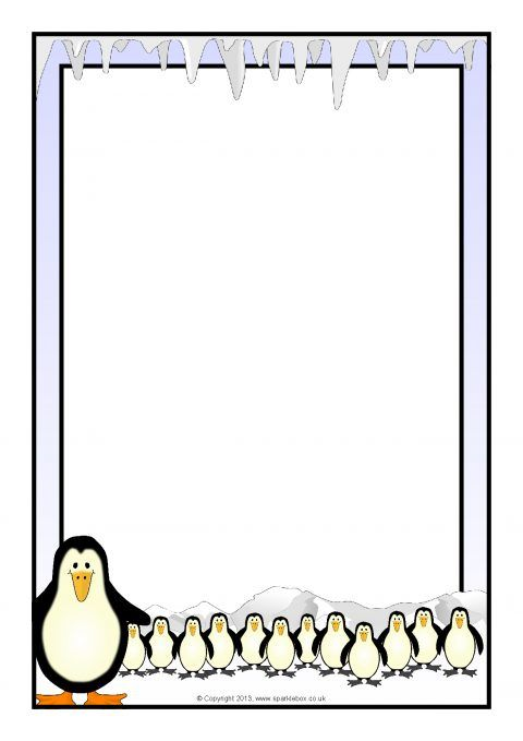 Clipart penguin frame. A page borders sb