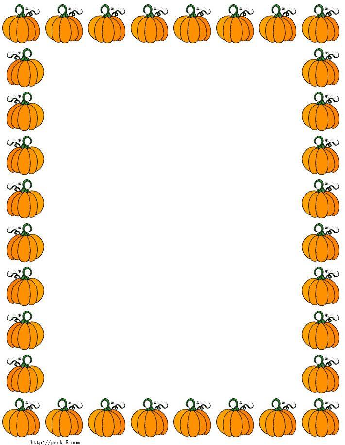 Halloween cute pumpkins paper. Pumpkin clipart border
