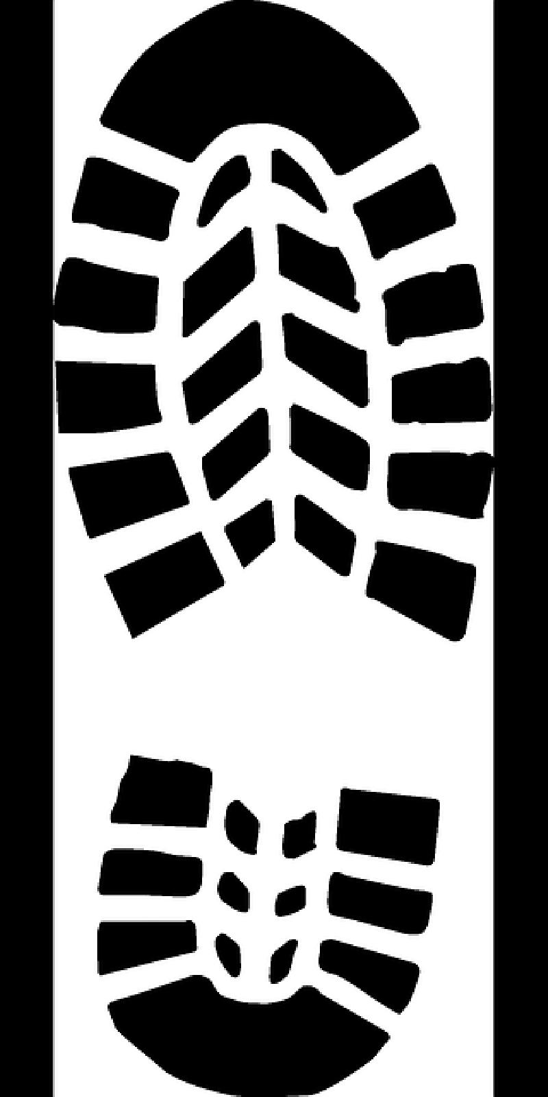 Footsteps clipart border. Footprint shoe sole pencil