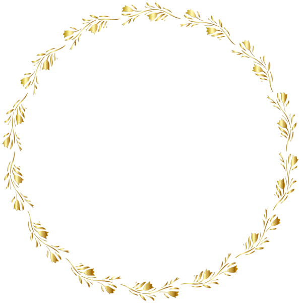 Gold floral border transparent. Pin clipart round
