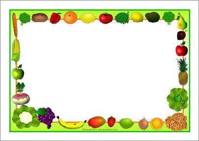 Fruit and vegetables themed. Clipart borders vegetable