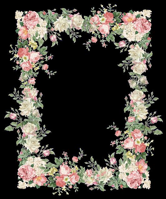 Floral frame png. Free faux vintage flower