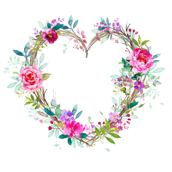 Watercolor flower wreath png. Coeur tube colorful hearts