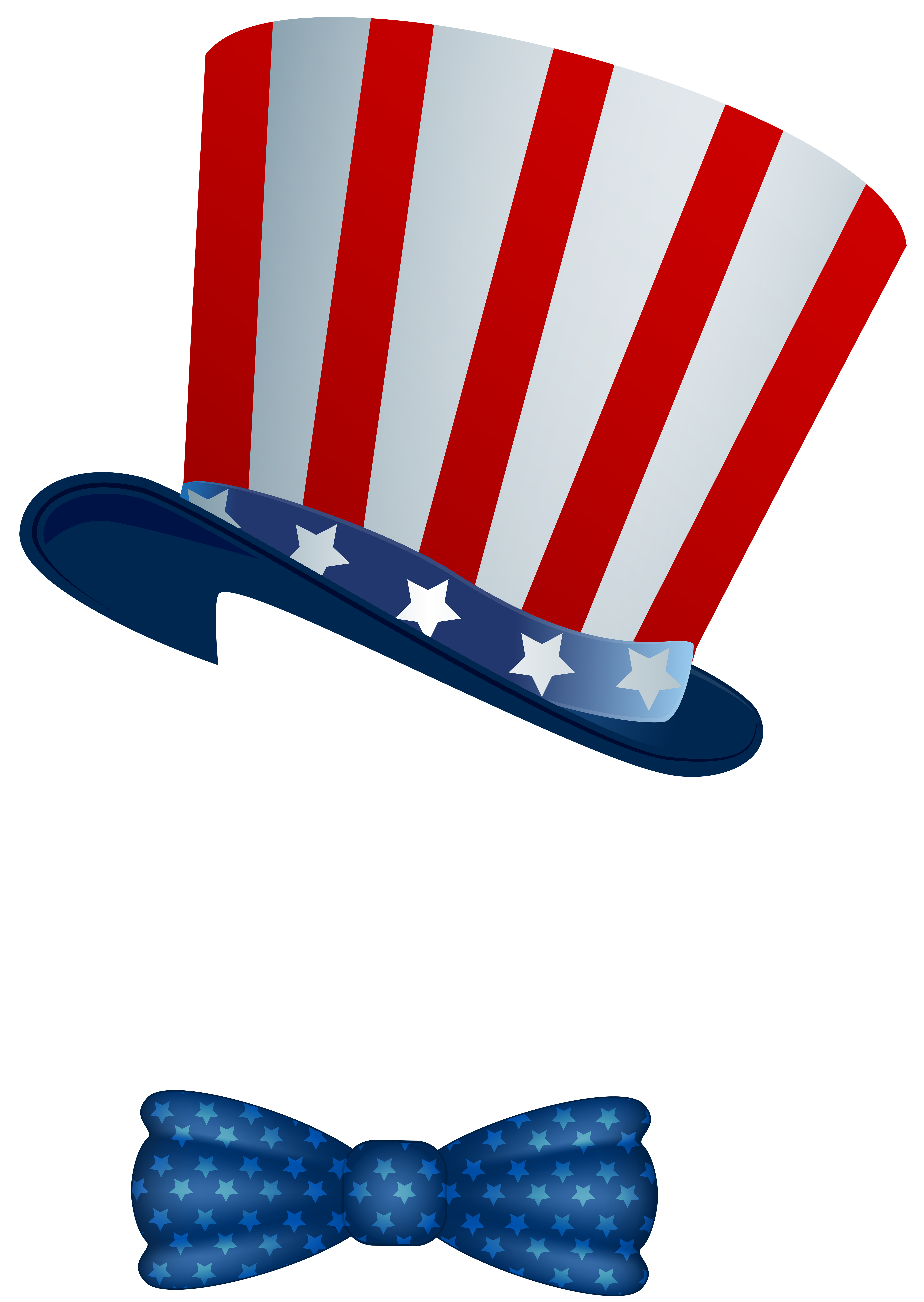 American hat and bowtie. Clipart bow 4th july