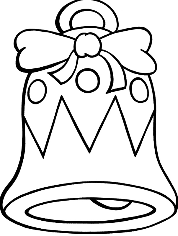 Christmas bells drawing at. Clipart bow coloring page