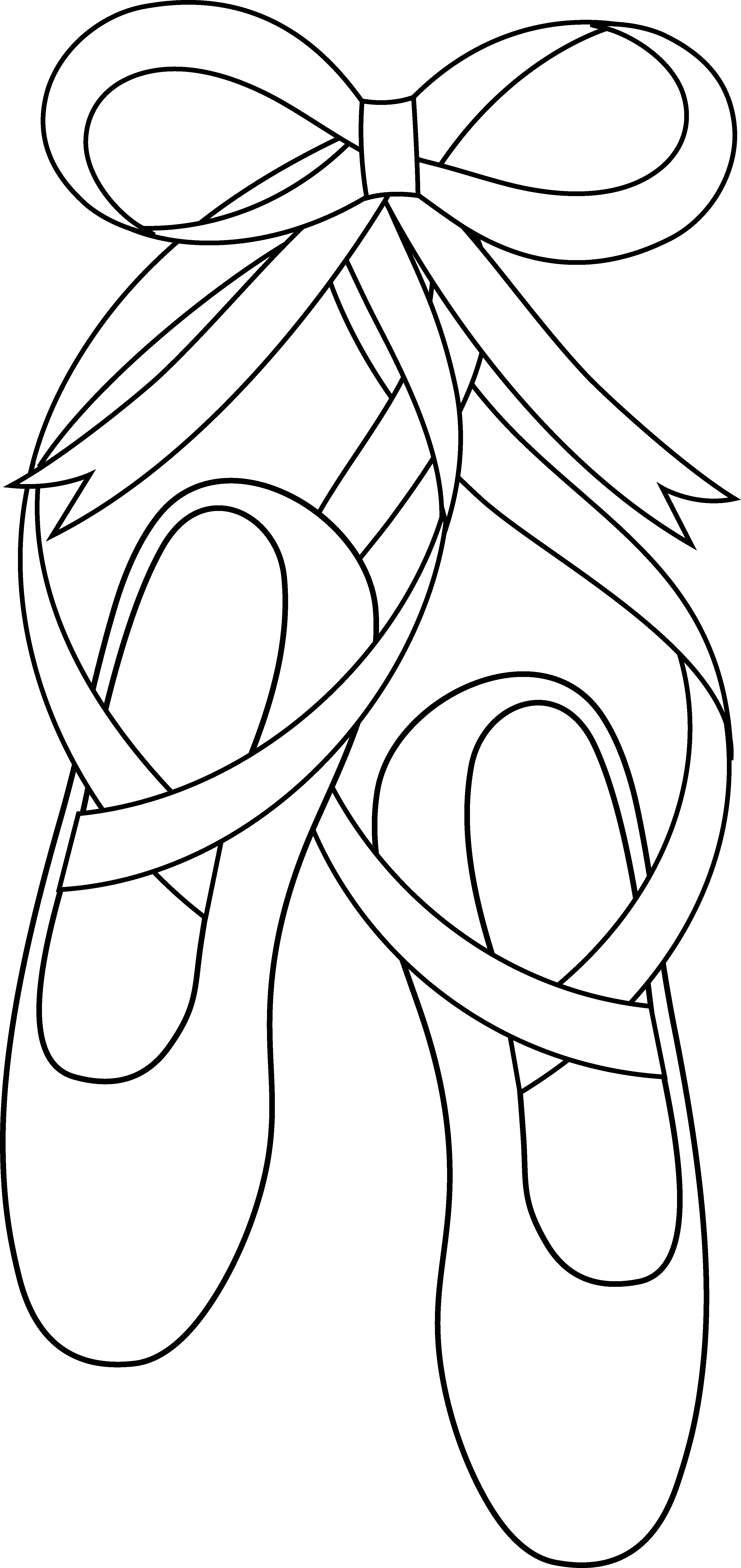 Ballet slippers art free. Doll clipart line drawing