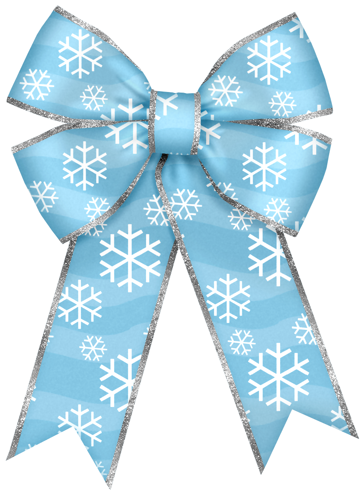 Christmas blue with snowflakes. Clipart bow corner