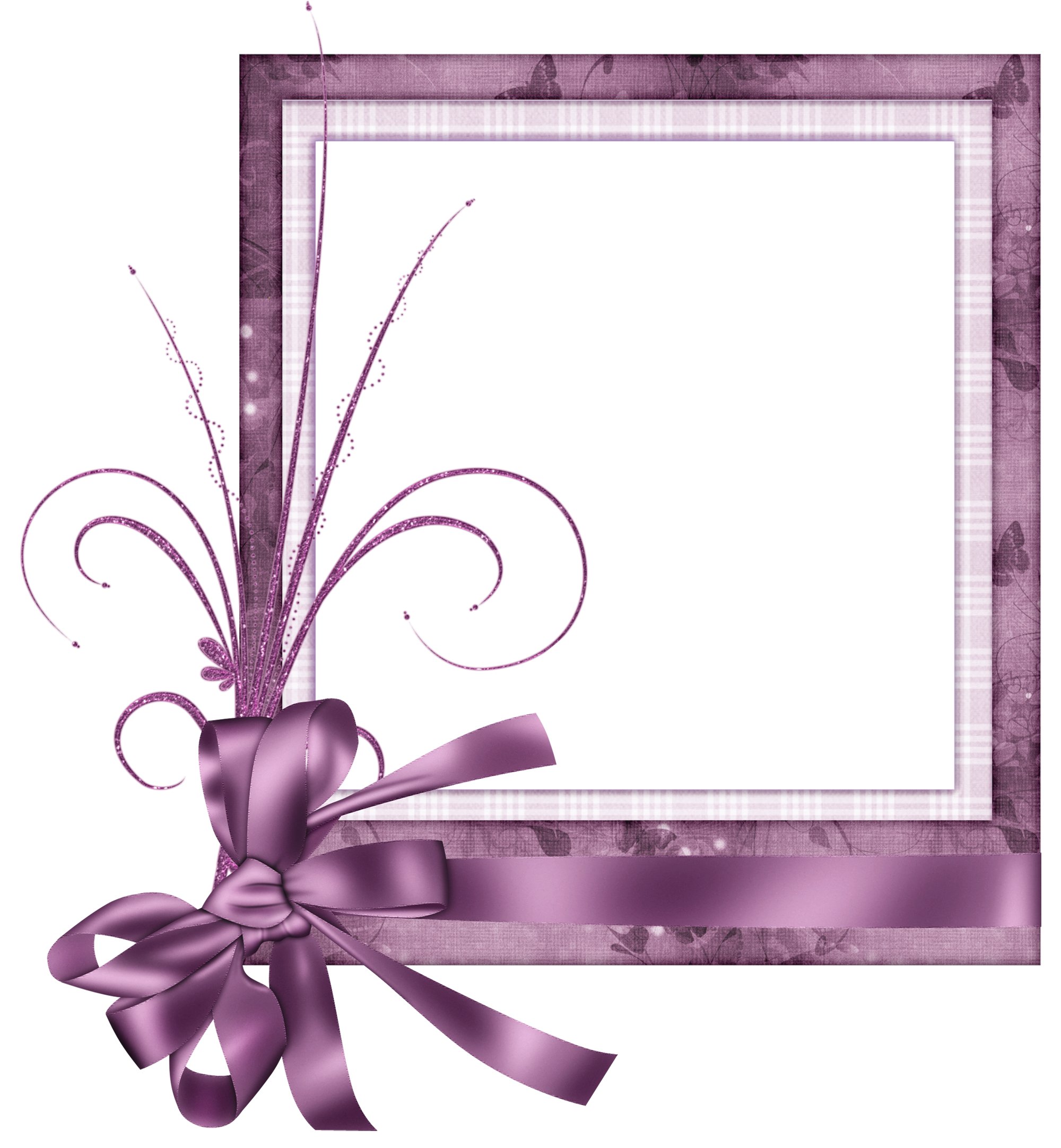 Pink transparent with bow. Cute frame png