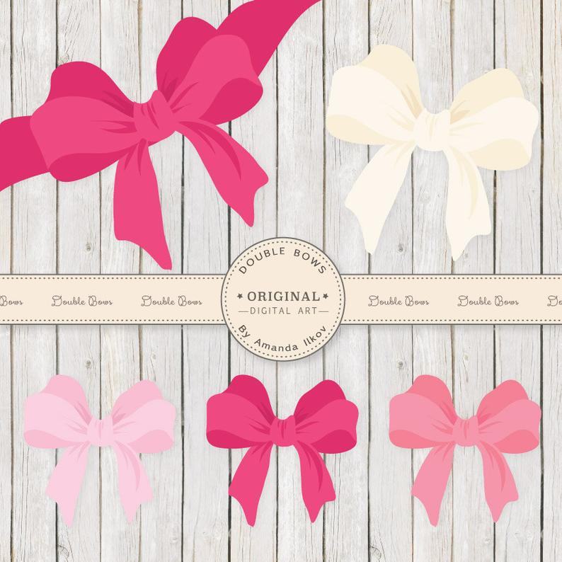 Large pink vector bows. Clipart bow double bow