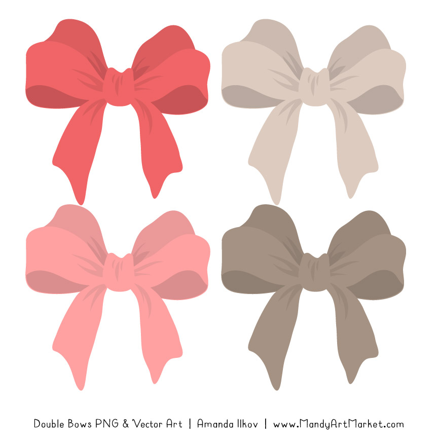 Clipart bow double bow. Free coral party