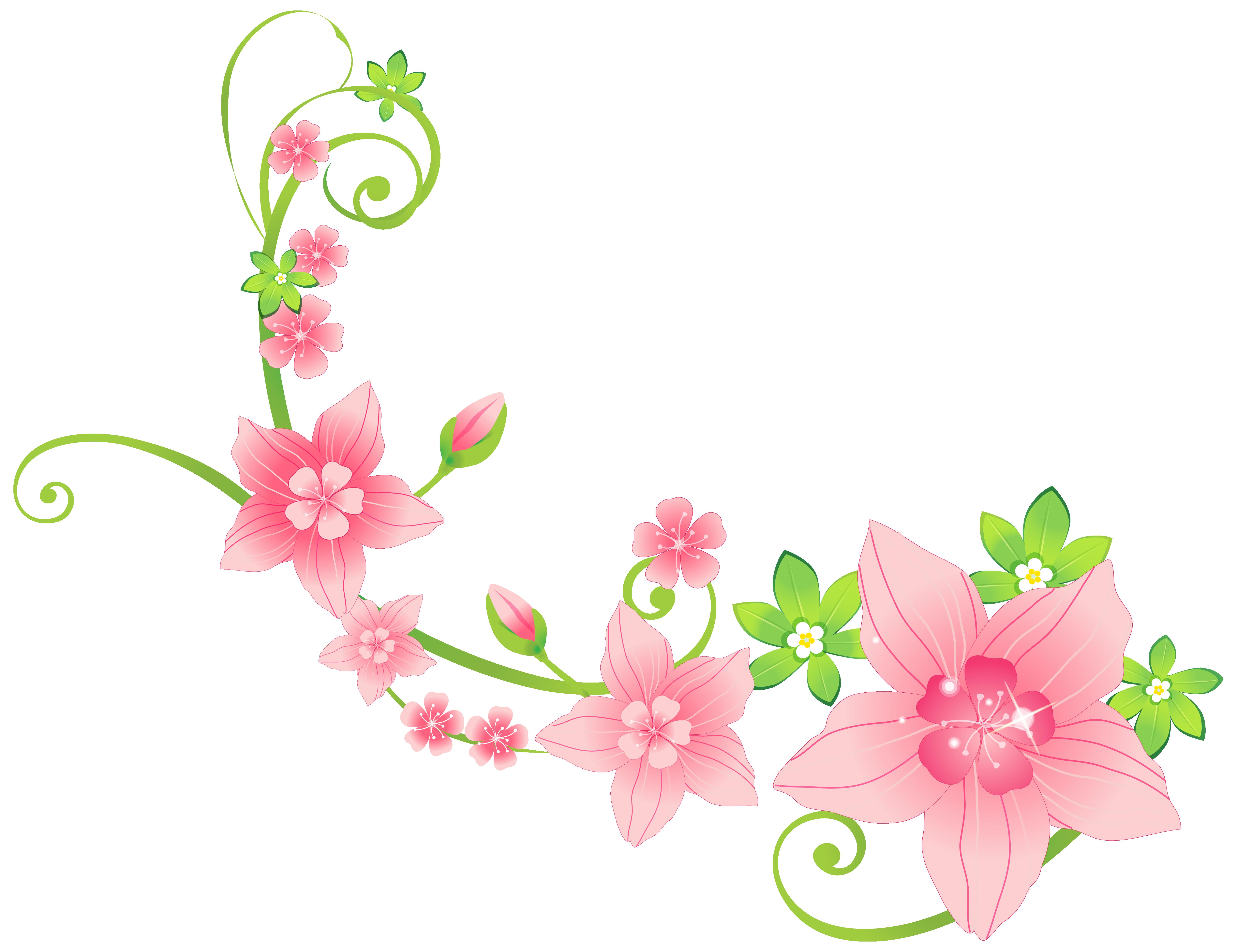 Floral decoration png clip. Clipart design pink