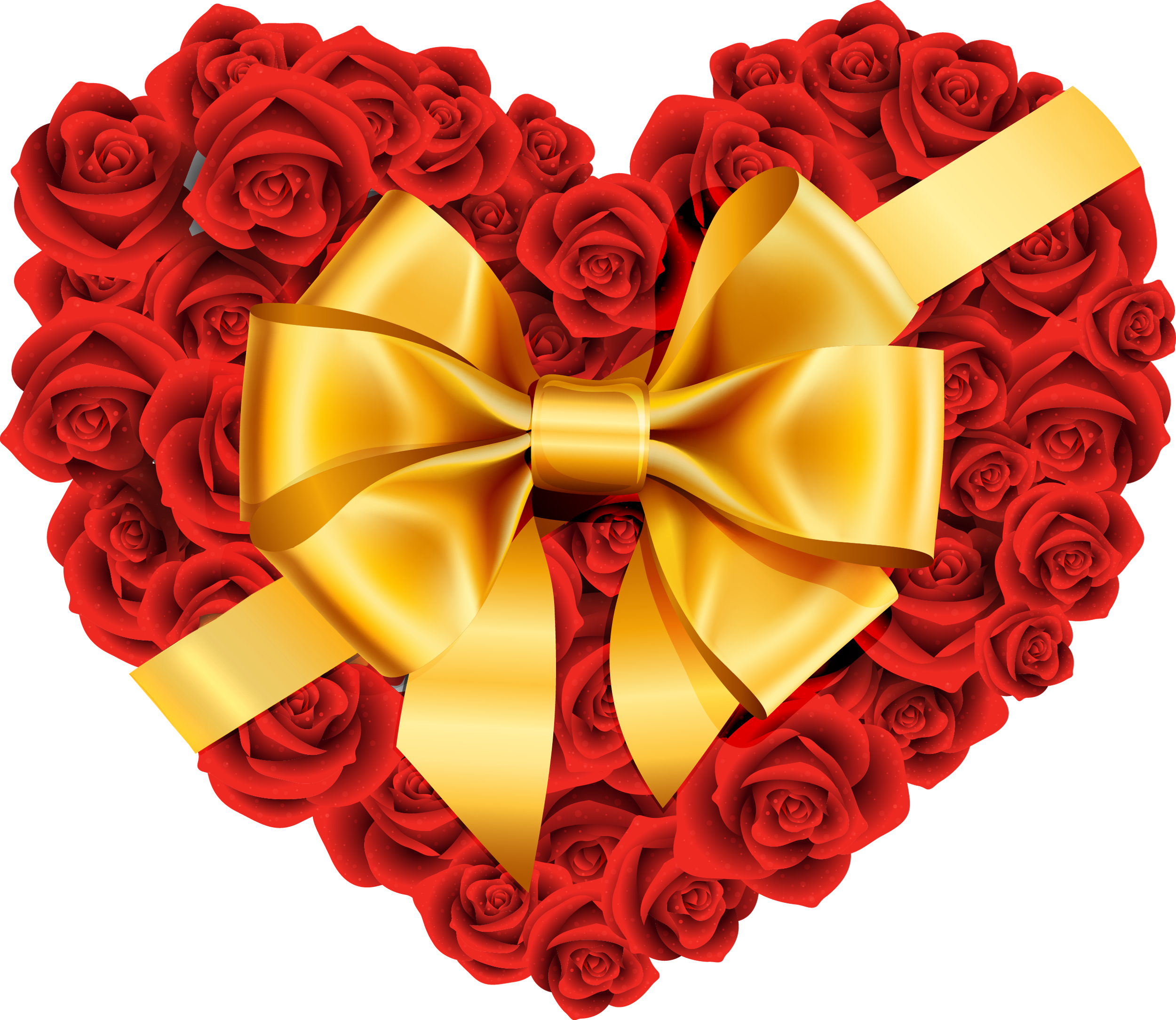 Large heart with bow. Clipart roses rose gold
