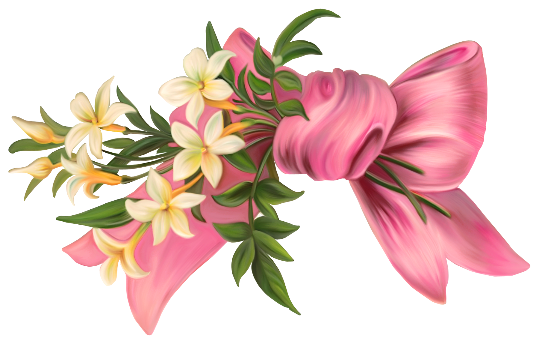 Pink bow with flowers. Free flower png