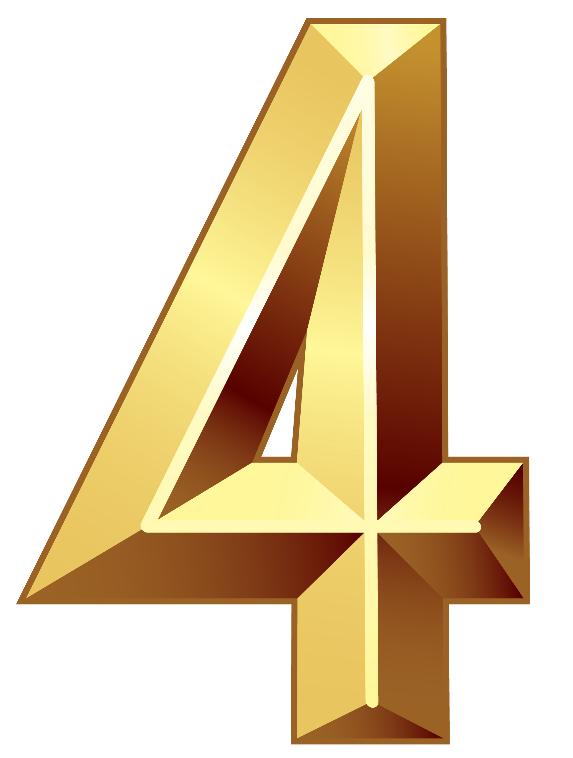 Gold number png image. Clipart bow four
