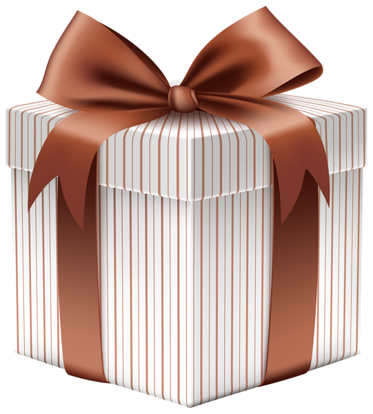 Box with brown bow. Clipart present wedding gift