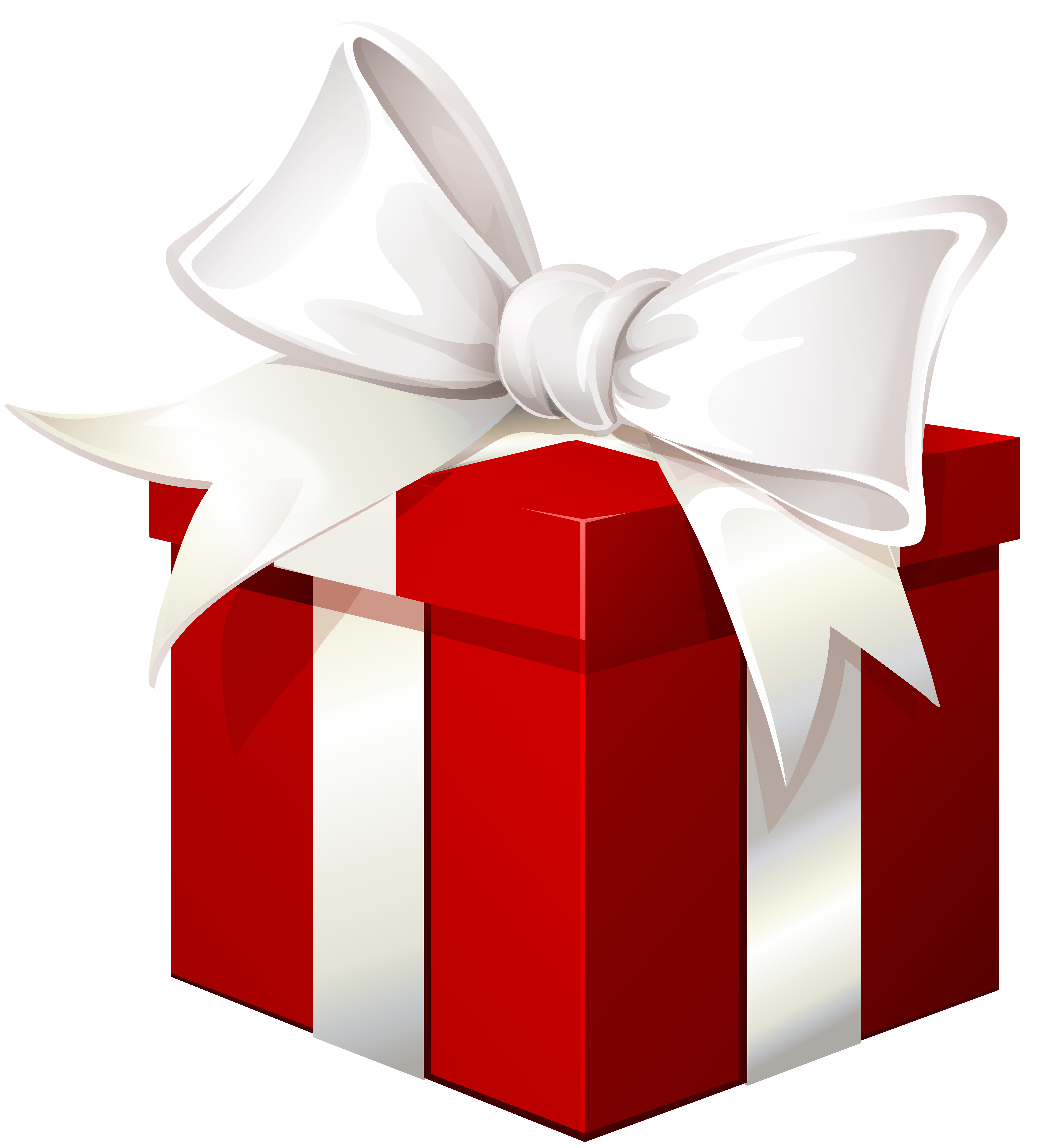Red box with white. Clipart bow gift bow
