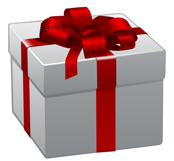 Transparent box with red. Clipart present white christmas